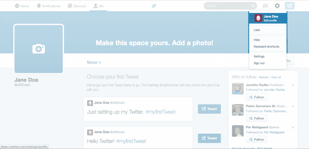 Location of icon for editing your Twitter profile.