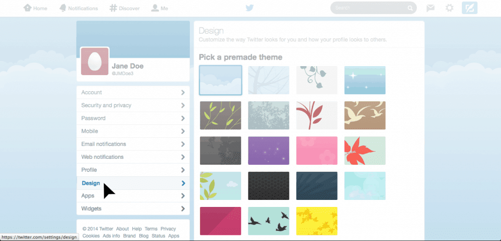 Twitter theme and design