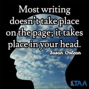 """Most writing doesn't take place on the page; it takes place in your head."" ~Susan Orlean"