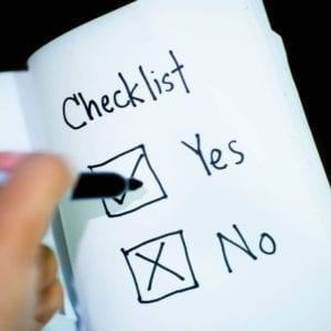 Checklist with two options: yes or no