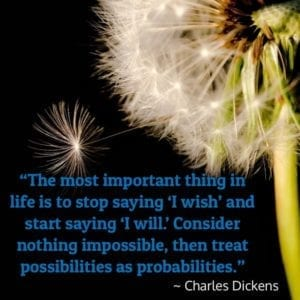 """The most important thing in life is to stop saying 'I wish' and start saying 'I will.' Consider nothing impossible, then treat possibilities as probabilities."" – Charles Dickens"