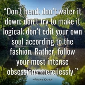 """Don't bend; don't water it down; don't try to make it logical; don't edit your own soul according to the fashion. Rather, follow your most intense obsessions mercilessly."" ~Franz Kafka"