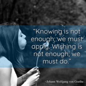 """Knowing is not enough; we must apply. Wishing is not enough; we must do."" ~Johann Wolfgang von Goethe"