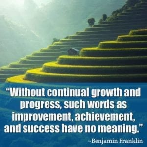 """Without continual growth and progress, such words as improvement, achievement, and success have no meaning."" ~Benjamin Franklin"