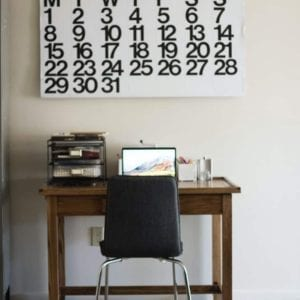 writing desk with calendar