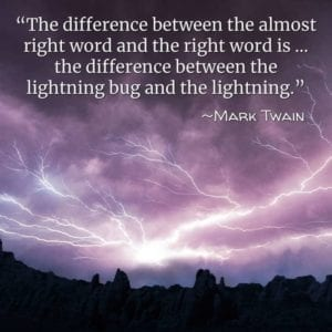 """The difference between the almost right word and the right word is … the difference between the lightning bug and the lightning."" ~Mark Twain"