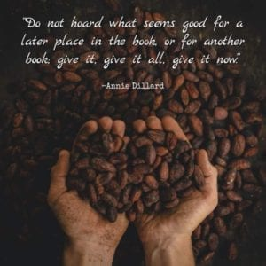 """""""Do not hoard what seems good for a later place in the book, or for another book; give it, give it all, give it now."""" ~Annie Dillard"""