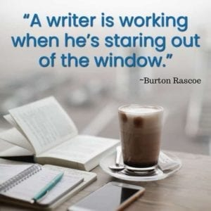"""A writer is working when he's staring out of the window."" ~Burton Rascoe"