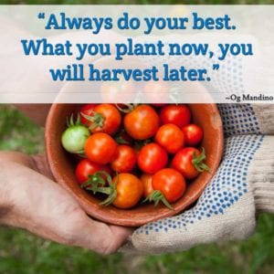 """Always do your best. What you plant now, you will harvest later."" ~Og Mandino"
