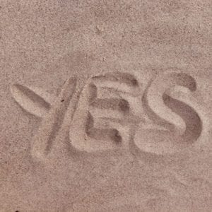 yes written in the sand